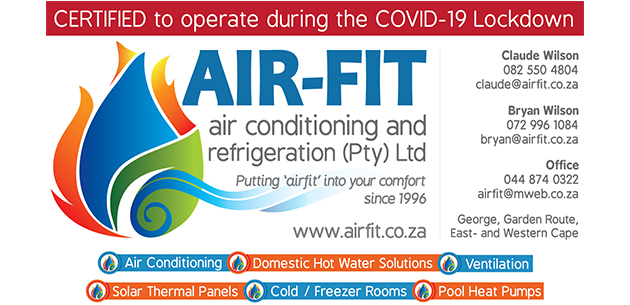 Air-Fit Air Conditioning, installation, air con technicians, industrial air conditioning, refrigeration, heat pumps, George, Western Cape, Eastern Cape, Air Conditioning, Evaporated Coolers, Ice Machines, Cold / Freezer Rooms, Blast Freezers, Island Displays, Display Fridges, Counter Fridges, Extraction & Ventilation, Extract Canopy's, Drying Rooms, Refrigerated Trailers, Heat Pumps, Sheet Metal Ducting, Service Maintenance contracts, Daikin, Samsung, LG, Celair, Carrier, Scotsman, Daikin Applied, York, Platonic, Trane, McQuay, Split Units, Diffusers, Centralized Systems, Ventilation, Solar Thermal Panels, Pool Heat Pumps, Integrated Heat Pumps, most efficient heat pump, Instantaneous Hot Water Systems, stiebel eltron